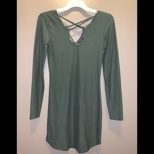 Olive Cross Fitted Long Sleeve Dress